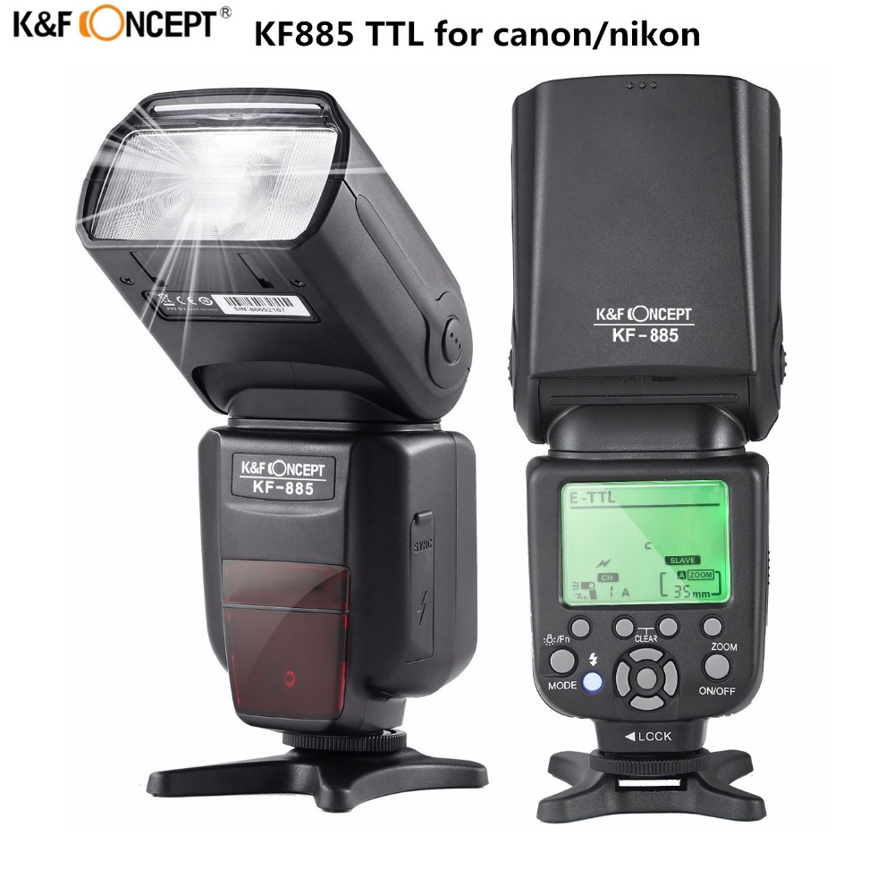 K&F Concept KF-885 Wireless Speedlight 1/8000s Master Slave With LCD Screen TTL Universal Flash Speedlite For Canon Nikon DSLR spash sl 685c gn60 wireless master slave flash light ttl speedlite for nikon lcd screen cameras flash adjustable fill light