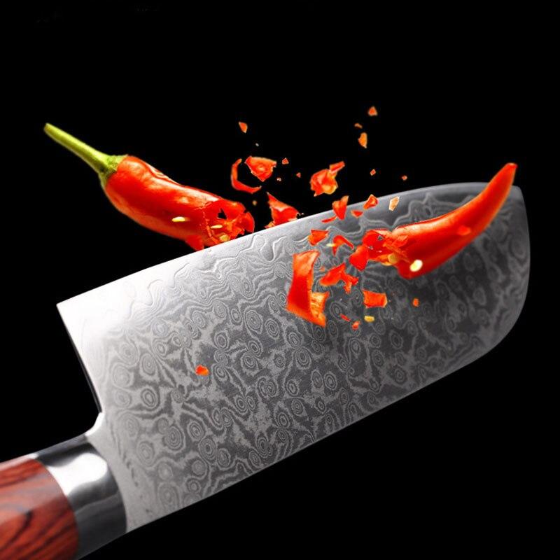 Ev ve Bahçe'ten Mutfak Bıçakları'de Liang Da 71 Katmanları VG10 Şam Çelik Mutfak Bıçakları Renk Ahşap Saplı 7 inç şef bıçağı Yüksek Tokluk Şam Mutfak Bıçağı'da  Grup 3