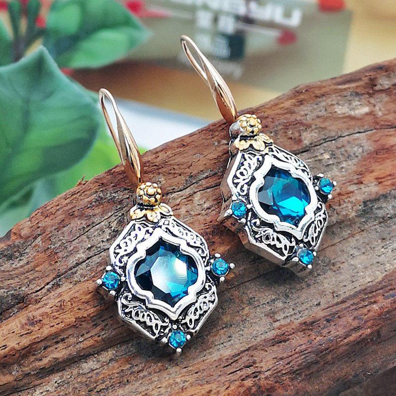 Новинка, винтажные элегантные висячие серьги с голубыми кристаллами и цирконием для женщин, ювелирные изделия, свадебные серьги-капли, серьги для помолвки - Окраска металла: Silver