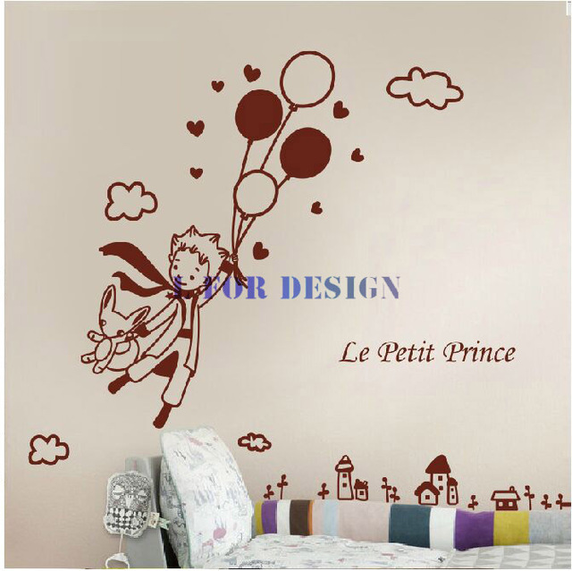 removable wall decal decoration little prince balloon children 39 s bedroom wall sticker decor. Black Bedroom Furniture Sets. Home Design Ideas