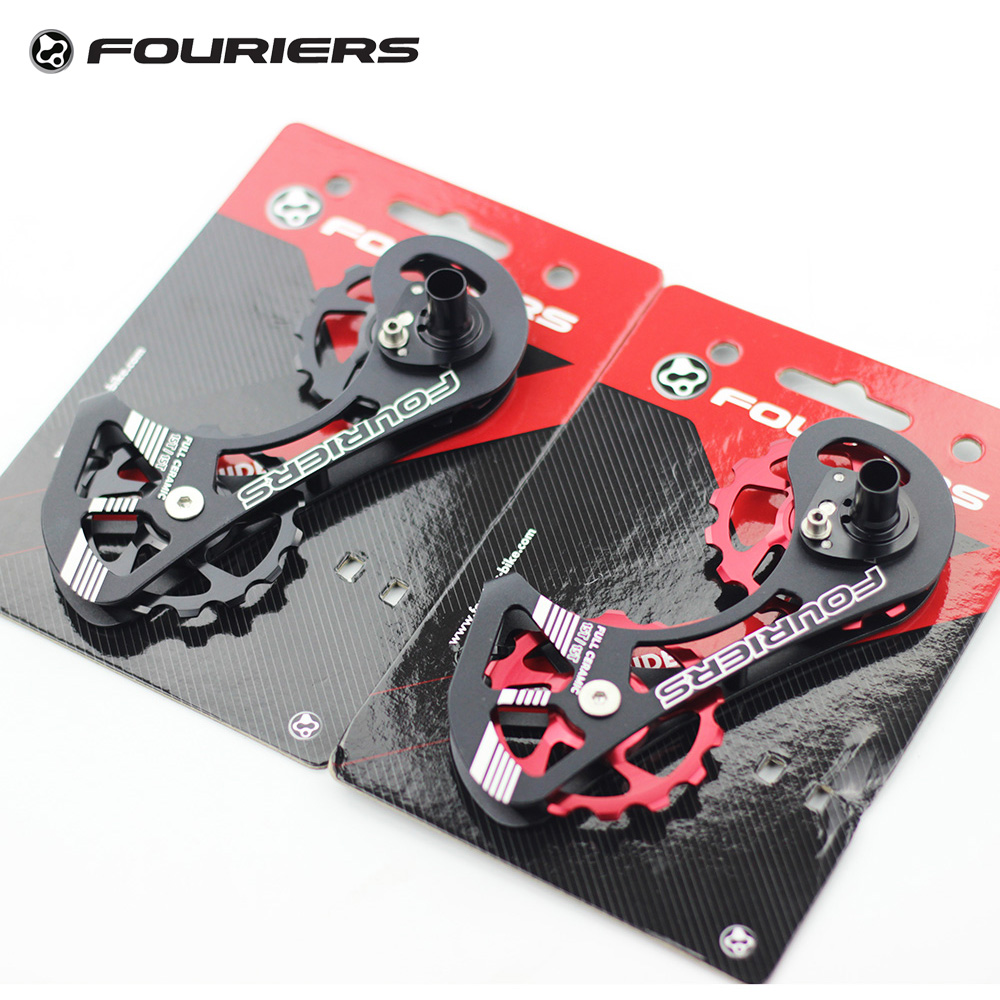 Fouriers Full Ceramic Road Bike Rear Derailleur Pulley Wheel Big Cage 15T Drivetrain For Dura Ace 9000 9070 Ultegra 6800 6870 ztto 11t mtb bicycle rear derailleur jockey wheel ceramic bearing pulley al7075 cnc road bike guide roller idler 4mm 5mm 6mm