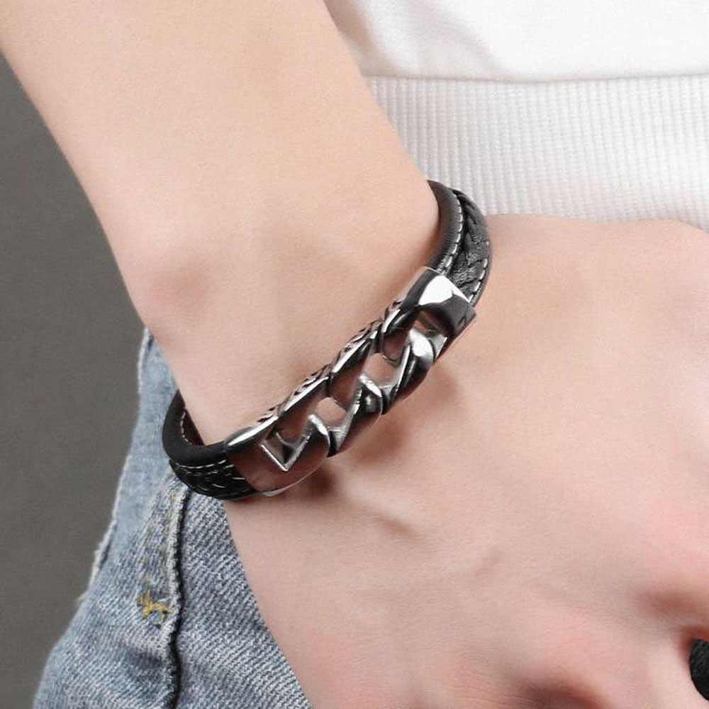 Splot kształt ze stali nierdzewnej skórzane bransoletki i bransolety długość 215mm bransoletka modna biżuteria na prezent dla mężczyzn (JewelOra BA102063)