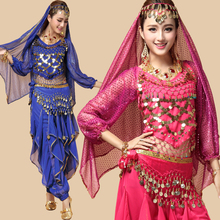 2016 New Women Belly Dance Costumes Suit 4PCS (Gold Wavy Pants& Bell Pepper Top&Belt+Veil)  Long Sleeve Bollywood Indian Dress