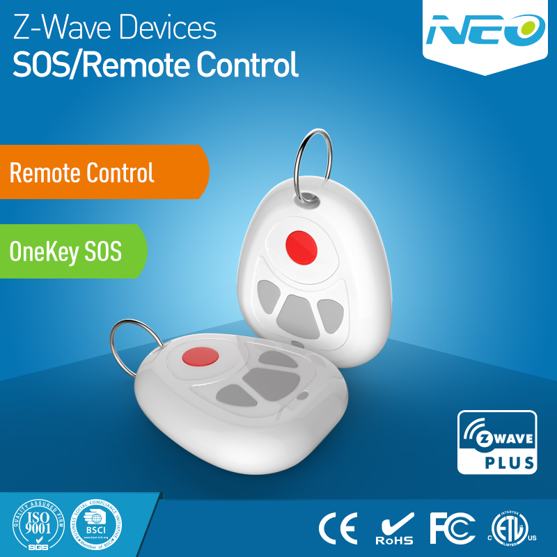 NEO COOLCAM Z-wave Plus Smart Home One Key SOS Alarm And Remote Control Sensor Smart Home Automation Sensor