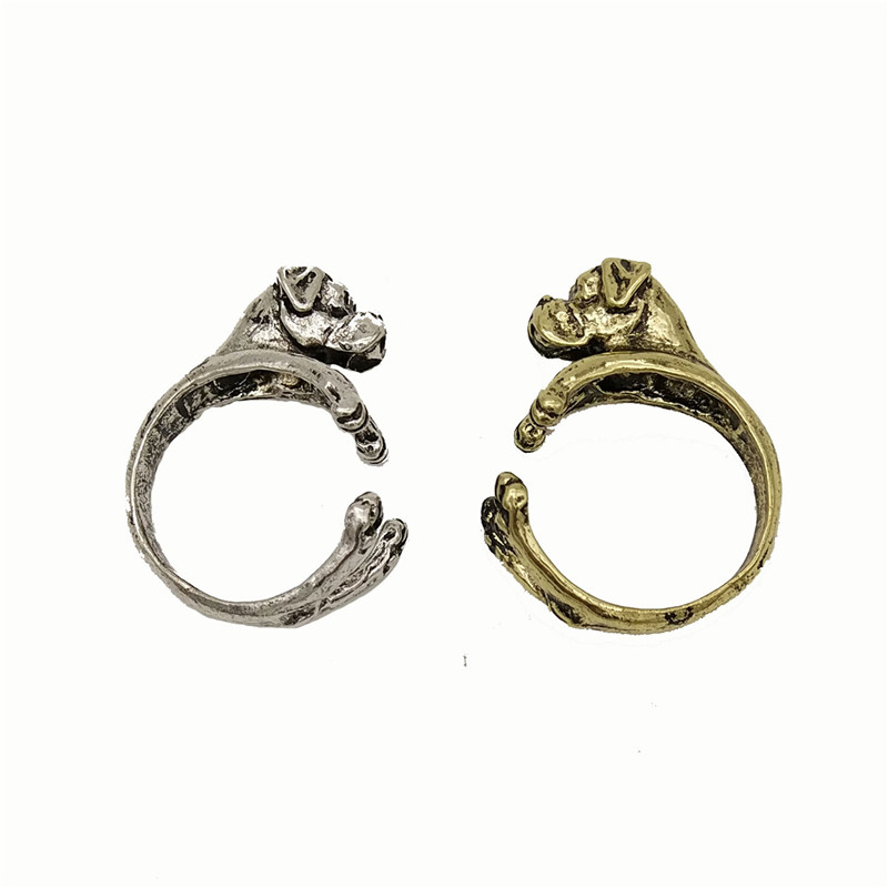 wholesale trendy Vintage Animal rings Adjustable ring cute Boxer dog Ring For Women Men Finger Jewellery Christmas pet gift punk