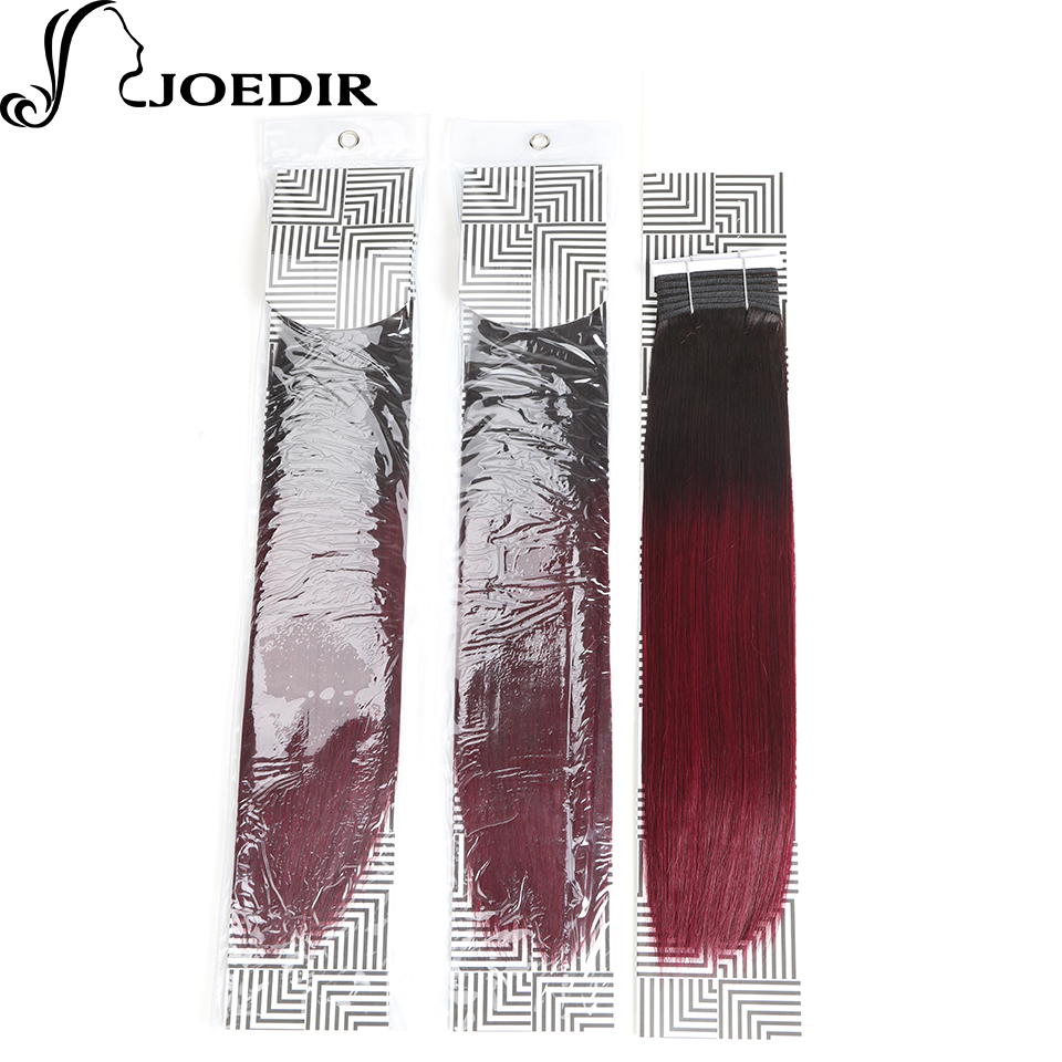 Joedir предварительно Цветной индийский Человеческие волосы Комплект S 1 Комплект Ombre цвет красного вина Химическое наращивание волос t1b99j прям... ...