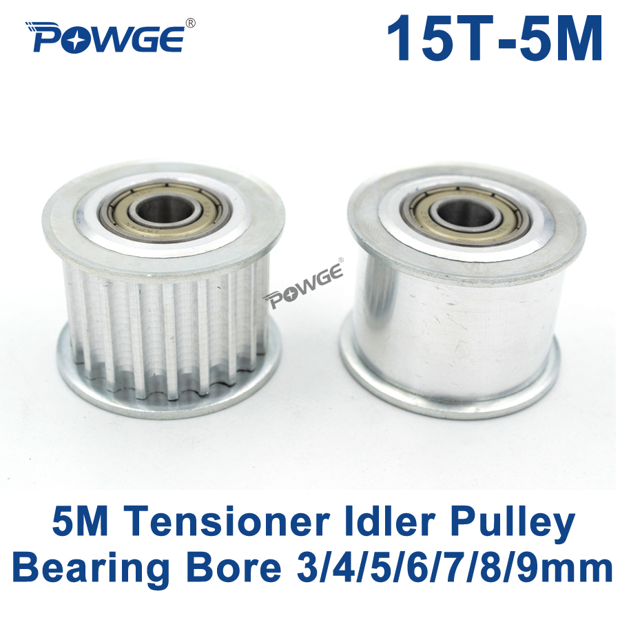 POWGE 15 Teeth 5M Idler Pulley Tensioner Wheel Bore 3/4/5/6/7/8/9mm with Bearing Guide 5M synchronous pulley HTD5M 15teeth 15T