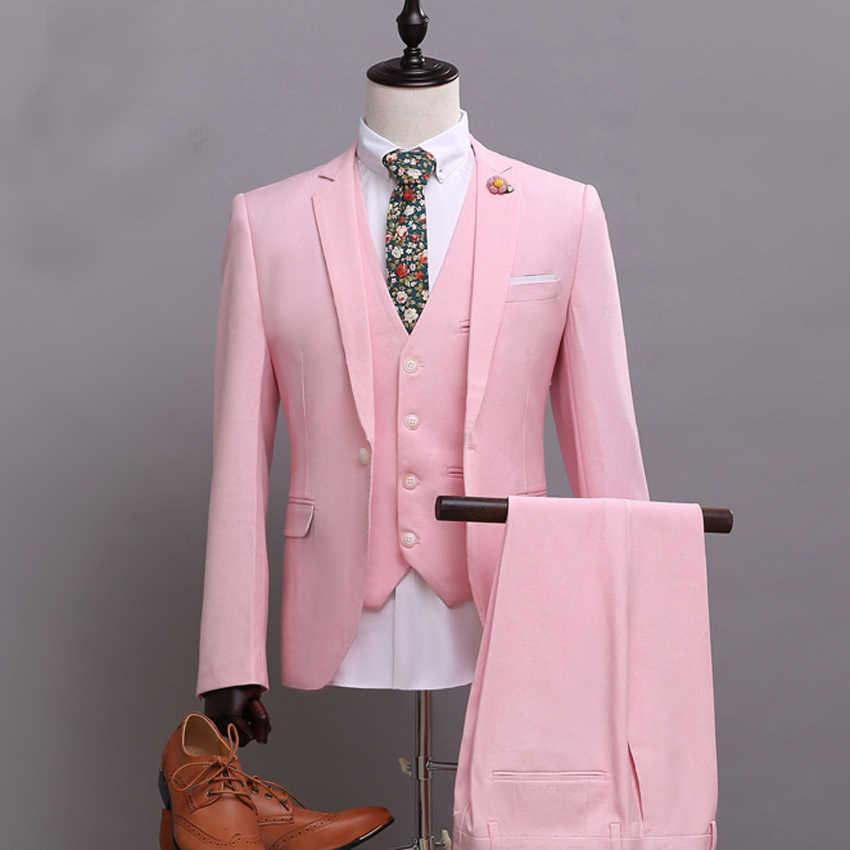 Mais recentes modelos casaco calça Rosa Ternos para Homens Terno Do Casamento One Button Slim Fit Noivo Smoking Sob Medida (Jacket + calça + Colete)