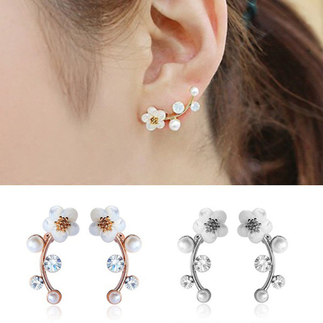 716ef772c156f5 JEPHNE Women Fashion Shell Pearl Stud Earrings Fashion Flower Wrap Pin Climber  Earrings Branch Shell Pearl