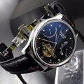 Parnis 43mm power reserve black dial data movimento fecho deployant relógio Dos Homens movimento Automático 412