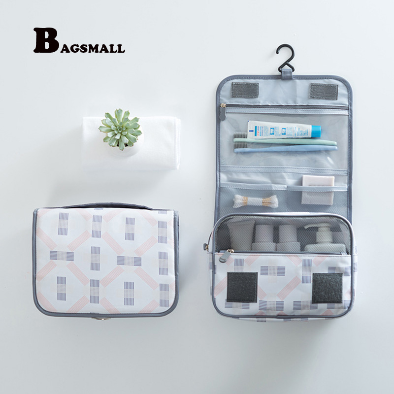 BAGSMALL Waterproof Cosmetic Bag Polyster Hanging Toiletry Bag Travel Folding Makeup Organizer Makeup Case Portable Wash Bag pvc transparent wash portable organizer case cosmetic makeup zipper bathroom jewelry hanging bag travel home toilet bag