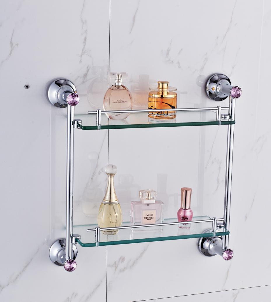 American Gold Brass Glass shelf 2 Layer Luxury High Quality Polished ...