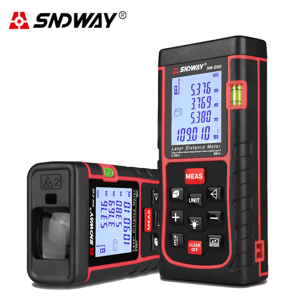 SNDWAY Digital 60M Laser distance meter Bubble level Rangefinder Range finder Tape measure Area/Volume hunting laser measure mastech ms6418 laser distance meter 80m distance measure digital range finder with bubble level