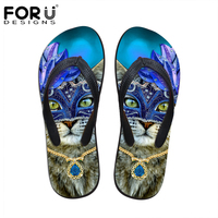 FORUDESIGNS Flats House Slippers Women Casual Summer Beach Sandals Cute Animal Cat Printed Flipflops For Ladies