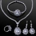 Brand New Fashion Women wedding Jewelry SetsPlatinum plated with cubic zircon 4pcs sets ( necklace + bracelet + earrings + ring)