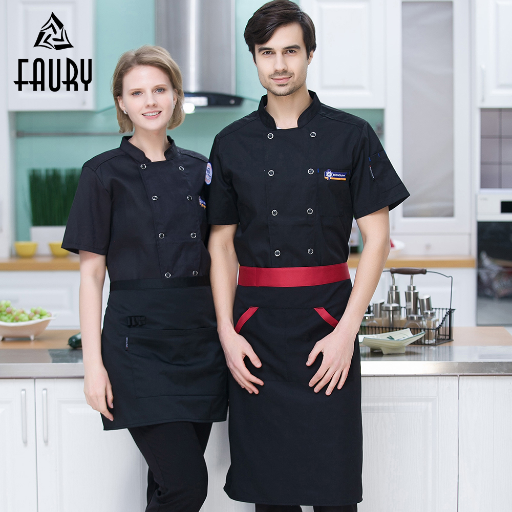 Unisex Casual Breathable Short Sleeve Chef Cooking Jacket Wholesale Restaurant Bakery Food Service Overalls Kitchen Work Uniform