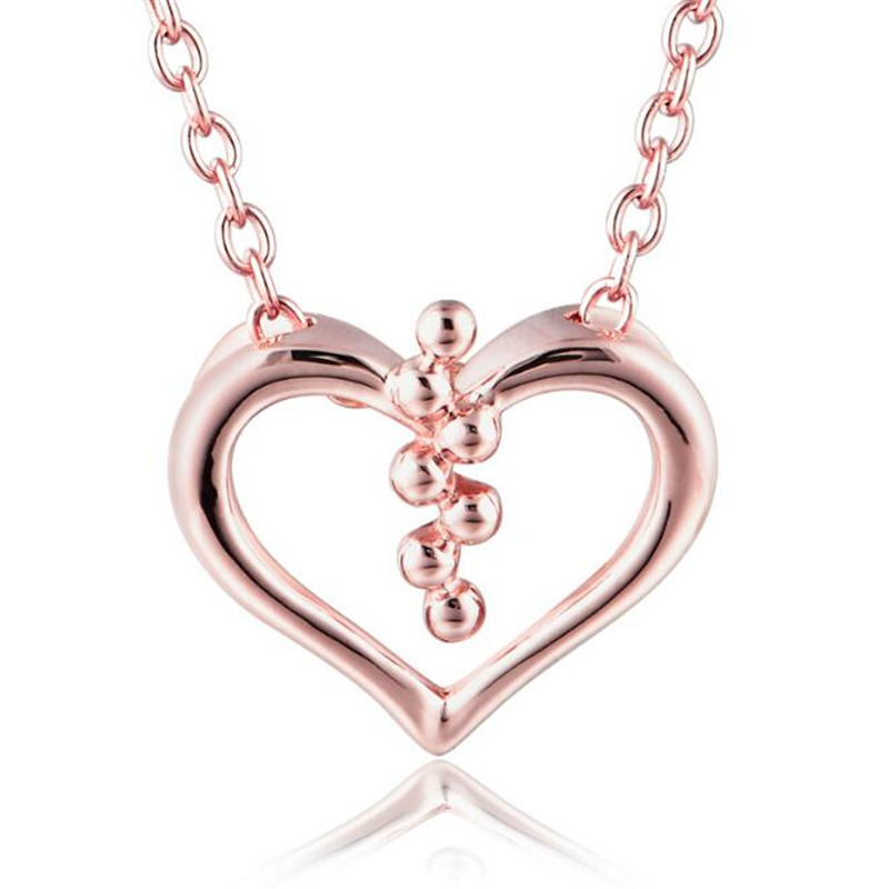 Hollow Heart Necklaces Pendants Love Heart Pendant For Necklace 18K Gold Women Girls Jewelry Necklace 0.96G yoursfs love you forever white gold plated heart in circle pendant necklace with austrian crystal open heart silver necklace wo