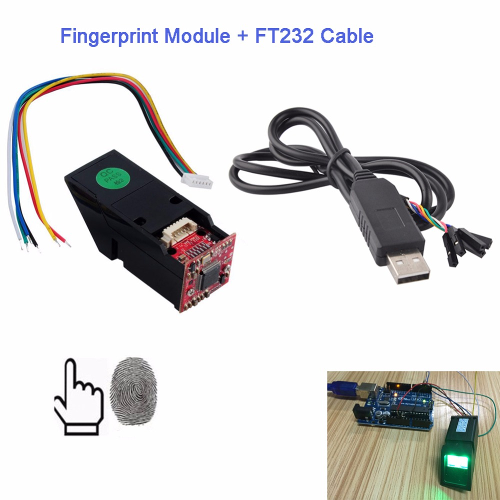 Optical Fingerprint Reader Sensor Module Green Light + USB to TTL Serial Cable Adapter FTDI Chipset FT232 USB Cable TTL FZ1035G max485 ttl to rs485 adapter module for singlechip red