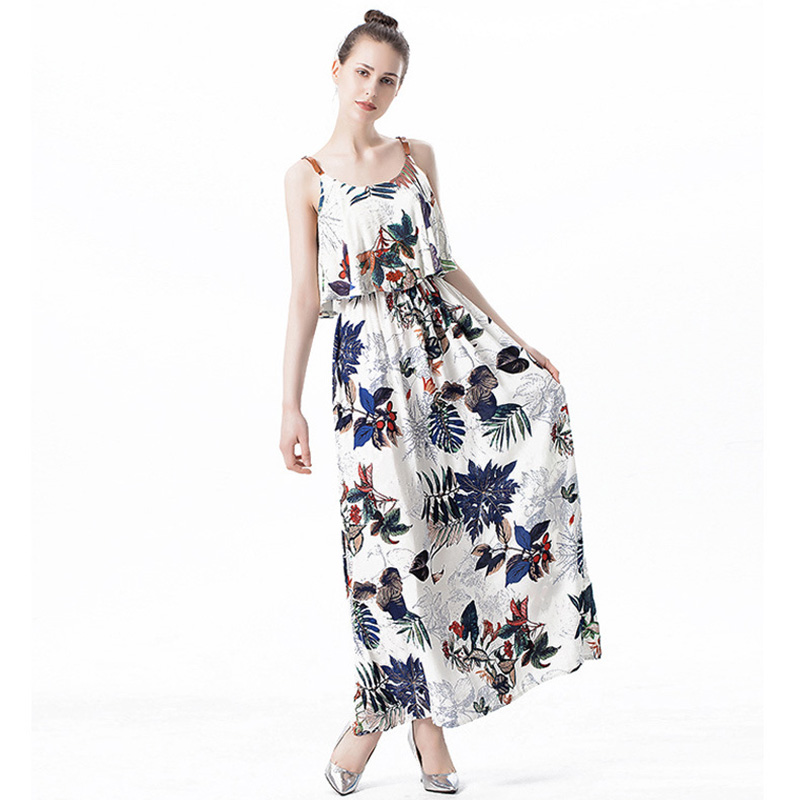 SAGUARO Bohemian Style Print Floral Ruffles Dresses Women Summer Sleeveless  Strappy Long Dress Beach Casual Maxi Dress Femal-in Dresses from Women s ... ffe317b9ea95