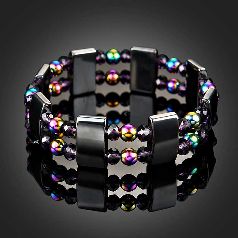 Multicolor หินธรรมชาติ Magnetic Hematite สุขภาพสร้อยข้อมือผู้หญิงผู้ชายสีดำ Magnetite Malachite คริสตัล Healing กำไลข้อมือ