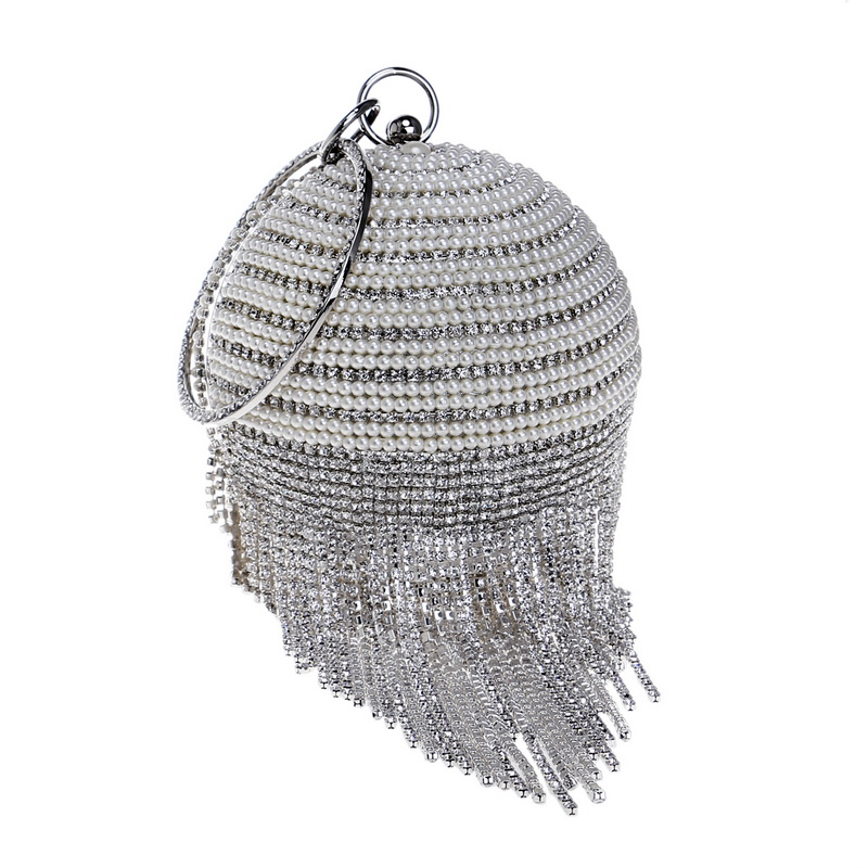 Round Shaped Women Evening Clutch Bag Tassel Diamonds Beaded Handbags Chain Shoulder Party Wedding Crystal Metal Purse leaf shaped beaded detail chain bangle anklet