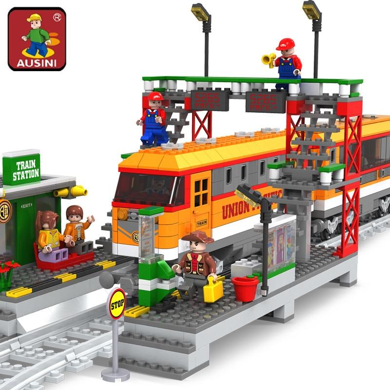 AUSINI 25110 blocs de construction briques de construction série de Train avec gare et plate-forme ferroviaire enfants briques à monter soi-même jouets pour les enfants