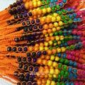 10 unidades/pacote lisonjeiro estilo nacional vento tecidos à mão contas de madeira pulseira poliéster fio de seda tecido pulseira cor aleatória