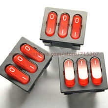 Phiscale 5 pcs/lot 9 pin 15a 250 v red tombol rocker beralih kcd3-303 rocker daya switches(China)