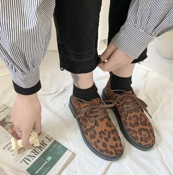 XDA2019 new style Faux Suede single Shoes Woman Platform Oxfords British Style Flat Casual Lace-up fashion Women Shoes E59 4