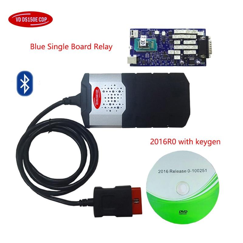 2016.00 software para delphis azul Único PCB Board com bluetooth vd OBD2 ds 150e cdp caminhão do carro do Scanner de diagnóstico OBDII ferramenta
