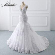 vestido de noiva sereia branco 2019 abiti da sposa Illusion Button Back Lace Applique Pearls Crystal V Neck Wedding Dresses New