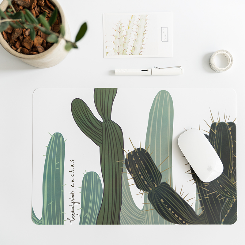 PVC rectangular table mat Waterproof placemat Creativity Insulation pads Office desk mat nordic style Green plants Table mat
