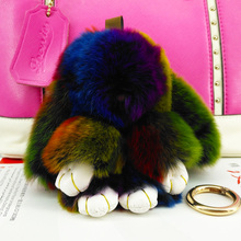 Cute Rabbit Pokemon Doll Key Chains Fur Handmade Pompon Keyring Bags Pendant Decoration Jewelry Ornament New Year Gifts f