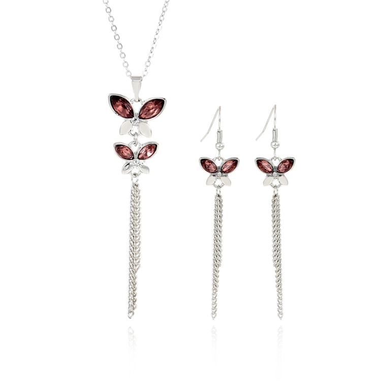 Butterfly Jewelry Sets Long Tassel Necklaces & Pendant Choker Collares Silver Plated Pink Rhinestone Crystal Bride Jewelry Sets