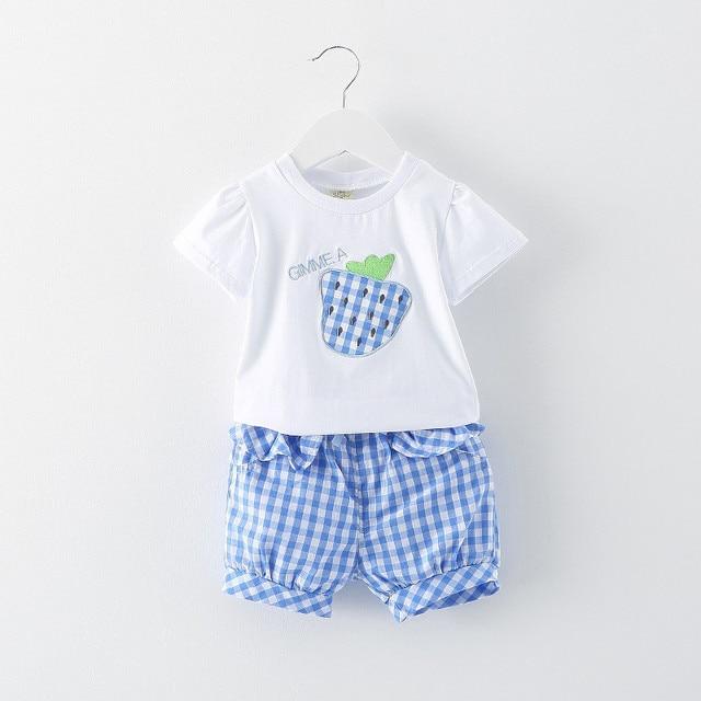 Новый 2016 летом новорожденного клубника рисунок t + клетчатые брюки детской одежды устанавливает милые девушки детские костюм casaco infantil menina