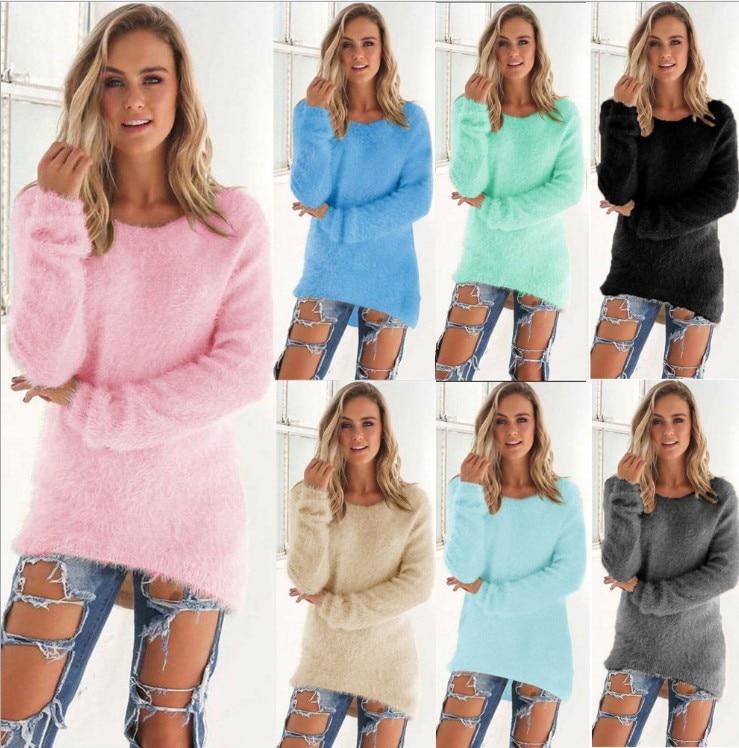 Women Velvet Material Long Sleeve O-Neck Solid Casual Sweater