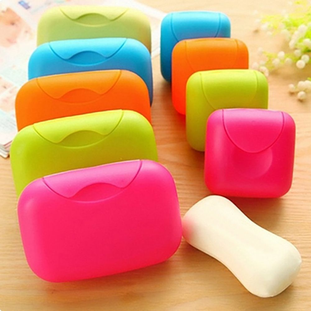 Portable Soap Dishes Box Case Holder Container Wash Shower Bathroom Sealed Soap Case Travel Supplies Random Color