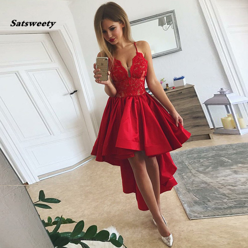 Satsweety Red High Low Women Dresses V Neck Spaghetti Straps Lace Satin Party Prom Gowns Asymmetrical Homecoming Dresses