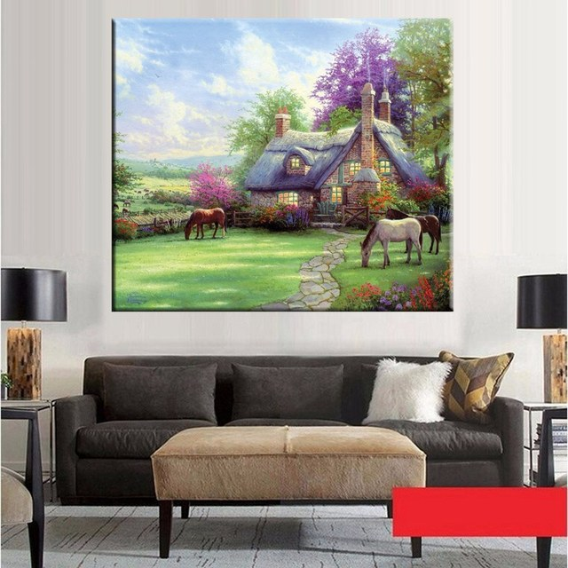 horse flower garden landscape wall art sunshine fairytale cottage pastoral painting prints on canvas artwork bedroom - Garden Wall Artwork