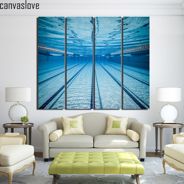 4 Piece Canvas Painting Swimming Pool Underwater Wall Pictures For Living Room Posters And Prints Free
