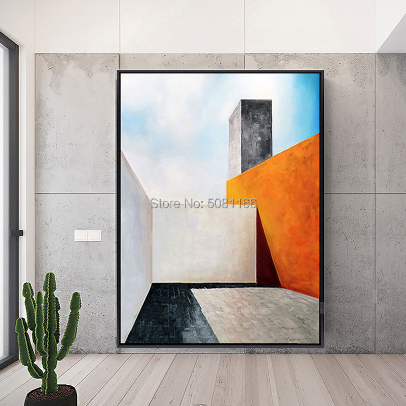 Hand painted large modern 3D oil painting Abstract Geometric architecture building wall art canvas picture decorative SPACE ART