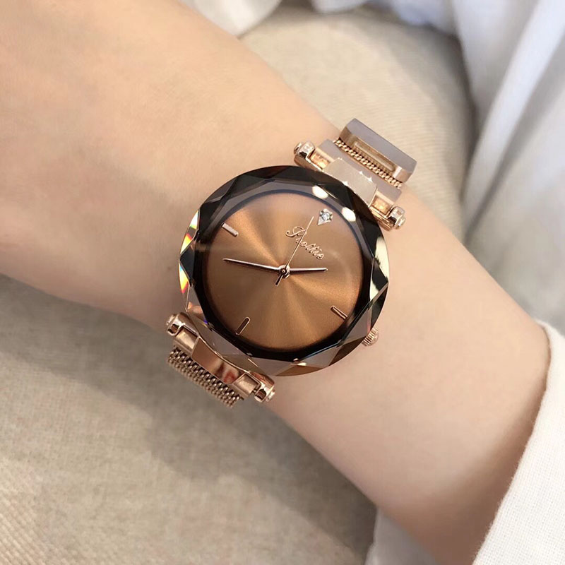Luxury Women Minimalist Watch Japan Quartz Rose Gold Milanese Loop Stainless Steel Band Reloj Mujer Magnetic Clasp Wristwatches