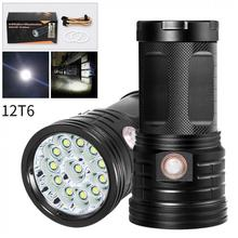 LED Flashlight 12 x XML-T6 LED 4800 Lumen Super Bright Torch Flash Lamp Flashlight Micro USB Charging Port for Camping Hiking led flashlight 13x xml t6 led waterproof super bright backpacking hunting fishing torch flash lamp