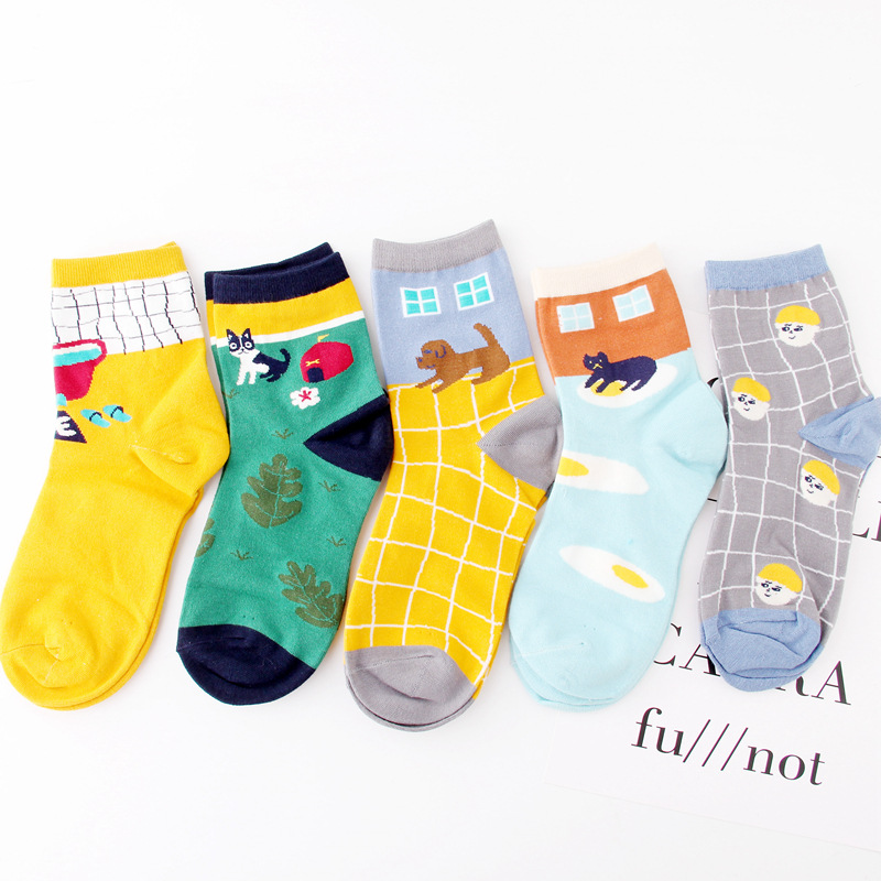 5 Pairs Vintage Cartoon Animal Cotton Women Short Breathable Socks Ankle Cotton Cheap Funny Patterned Hipster Cartoon Cool Sox