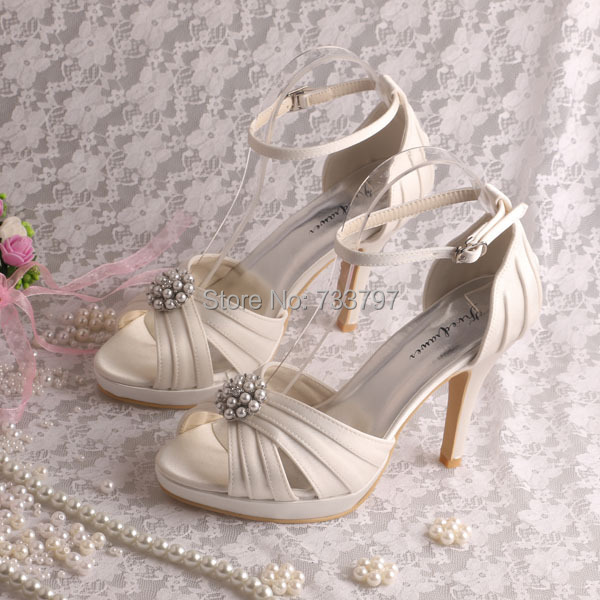 (20 Colors)Custom Made Off-white Satin High Heel Wedding Shoes Pearl Sandals for Women