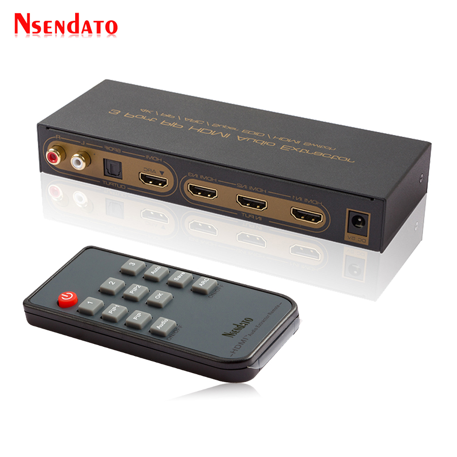 HDMI 3x1 Audio Switch With ARC EDID SPDIF PIP 3 Port HDMI Audio Extractor Switcher Converter SPDIF Output Support DTS Dolby digital to analog audio decoder with spdif toslink 3x1 switch support 5 1 channel audio spdif l r spdif headphones audio