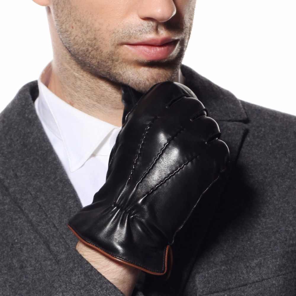 ホット販売メンズ本革手袋ツバメ尾デザイン冬シープスキン手袋ベルベット裏地手袋男性 EM009WQF