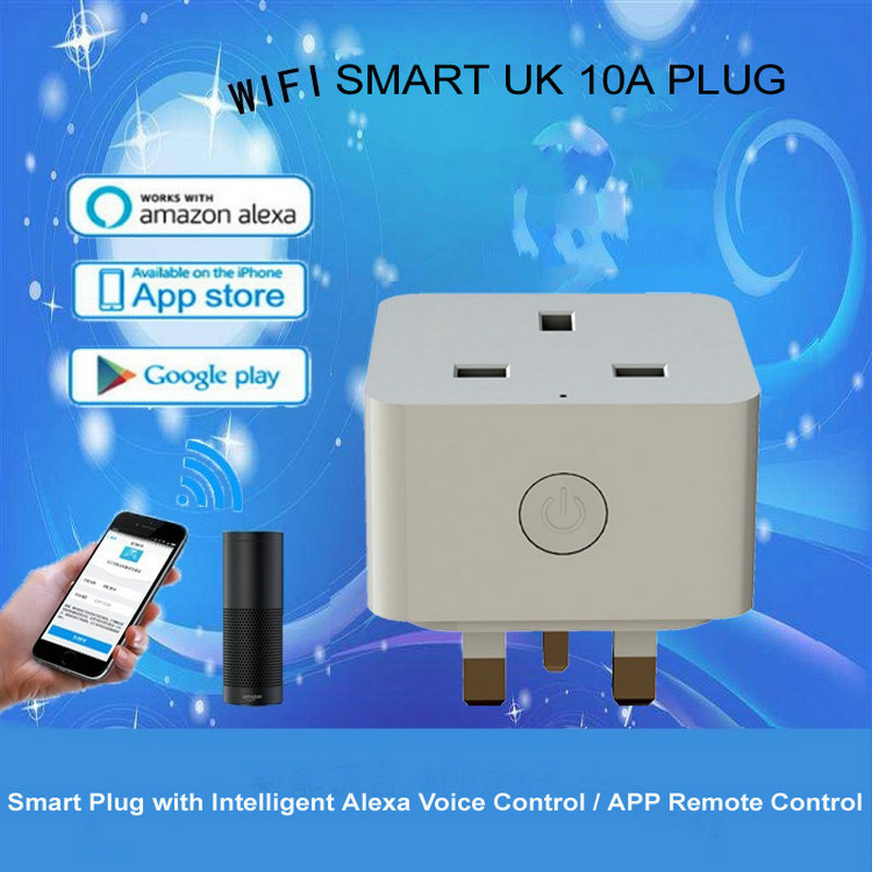 UK Standard Grounding Home Automation Remote Control Socket WiFi Smart Plug Support Amazon Alexa Voice Control Womo Smart APP