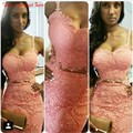 Two Piece Pink Lace Cocktail Dresses With Spaghetti Straps Sexy Women Vestidos Knee Length Cheap Prom Party Dress Gowns 2016