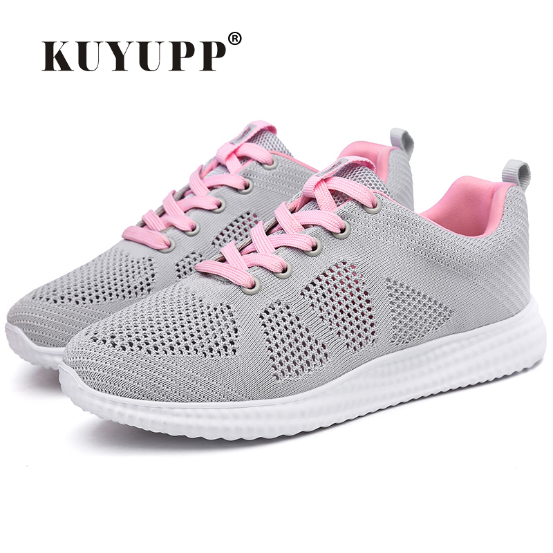 KUYUPP Fashion Shoes Woman Breathable Trainers Spring Flying Knitting Air Mesh Casual Shoes Lace Up Low Top Women Shoes BT725 sneakers women trainers breathable print flower casual shoes woman 2018 summer mesh low top shoes zapatillas deportivas